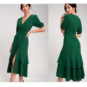 Lulus Made My Day Forest Green Midi Dress